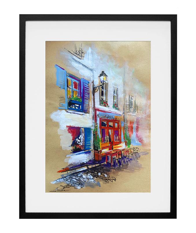 aquarelle-gouache-restaurant-montmartre-le-poulbot-amalie-artiste-peintre-paris