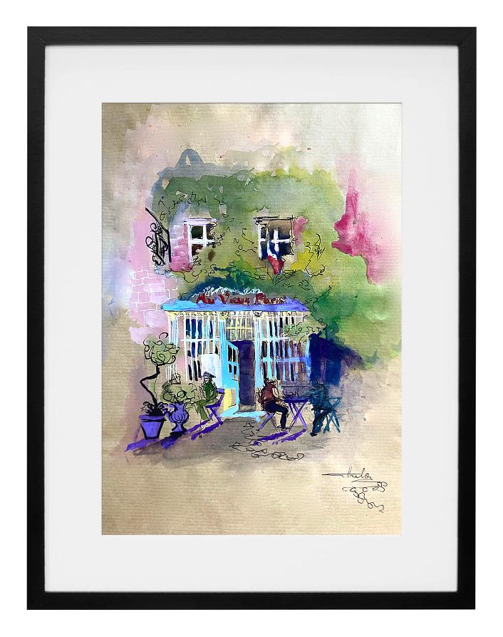 peinture-aquarelle-cafe-au-vieux-paris-d-arcole-amalie