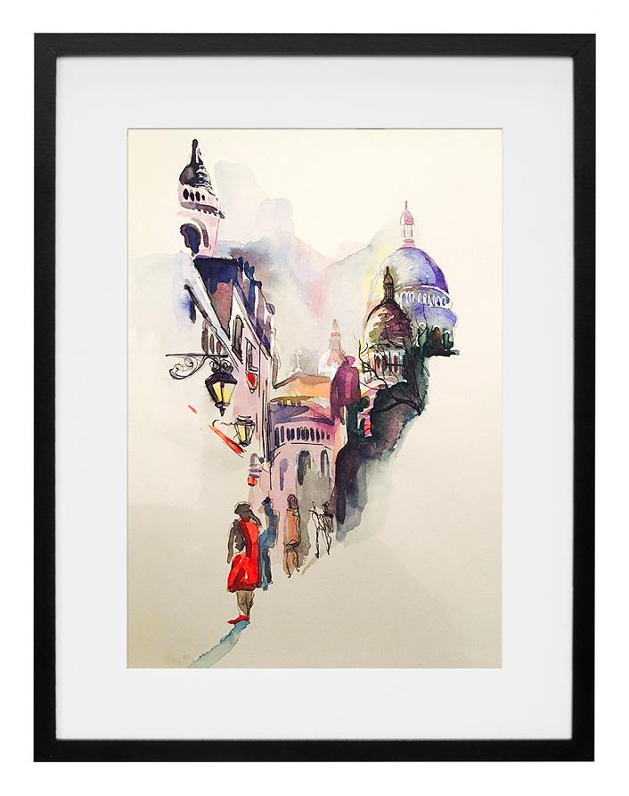 vue-de-montmartre-paris-aquarelle-et-encre-sur-papier-artiste-amalie-galstyan